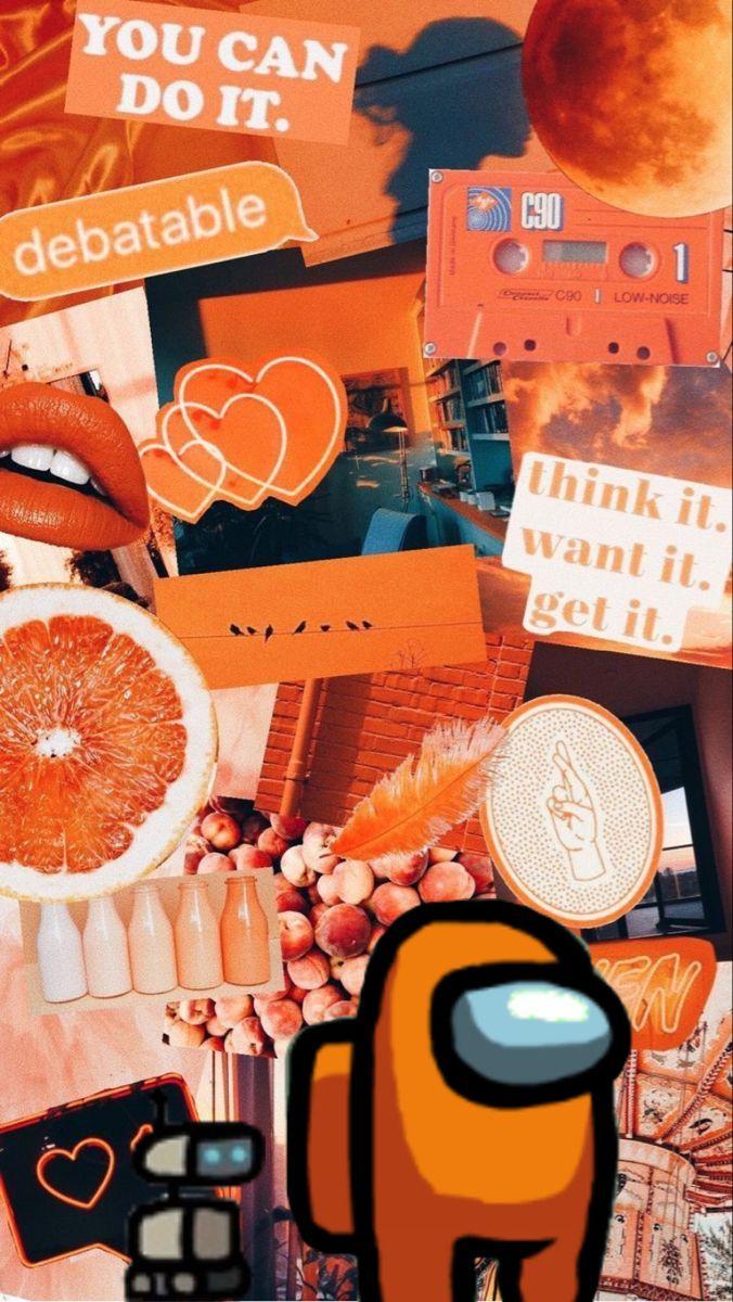 Among Us Iphone Wallpaper Orange Aesthetic Iphone Wallpaper Orange Wallpaper