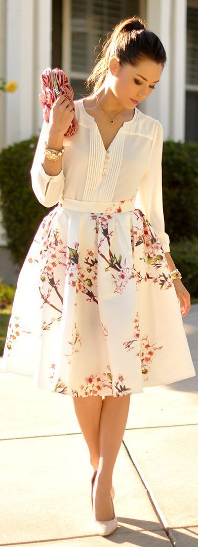 white shirt | floral midi skirt