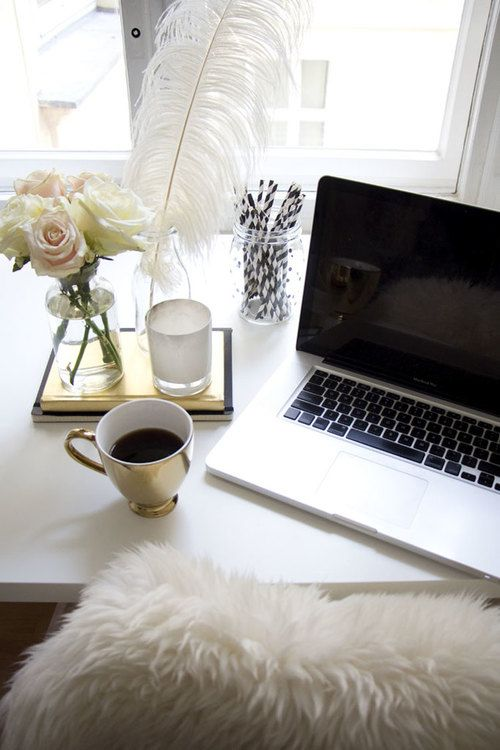 Tea at laptop | #workspaces #desks #interiors
