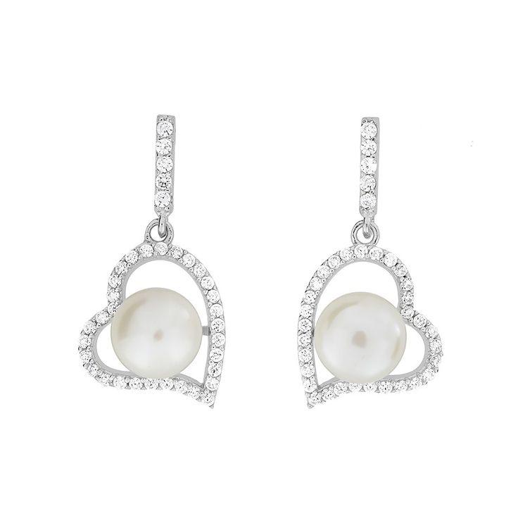 Silver & Pavé Heart Pearl Earrings #Silver #Pearl #Earrings #DropEarrings #PearlEarrings #WeddingJewellery
