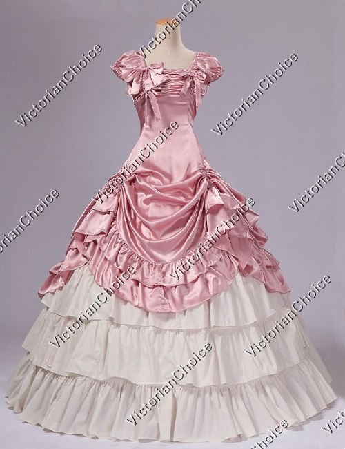 Southern Belle Civil War Satin Ball Gown Reenactment Dress Theatre Costume