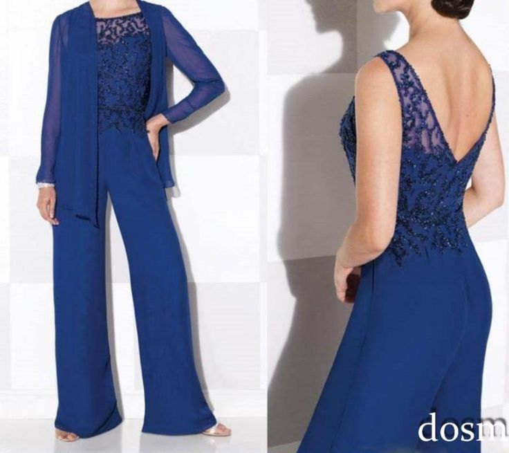 Best Selling Royal Blue Mother Of The Bride Pant Suits With Jacket Chiffon Groom…
