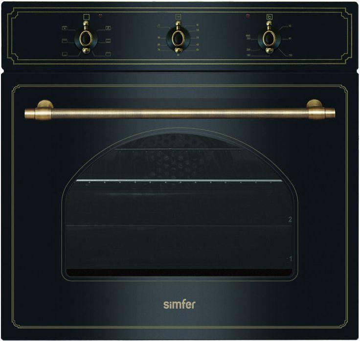 SIMFER VGRADNA PEČICA 6006 YERSA. Retro vgradna pečica, ki jo odlikuje najboljša cena. Lahko jo kombinirate s plinsko kuhalno ploščo 6400 QGRSA.  90 minutni časovnik z alarmom,  žična vodila pekača,  1- nivojska teleskopska vodila,  sistem steklenih vrat »Easy Clean«,  osvetlitev pečice,  1 mrežna rešetka,  1 globok pekač,  barva črna,  prostornina: 64 l,  število programov: 6, Energijski razred: A