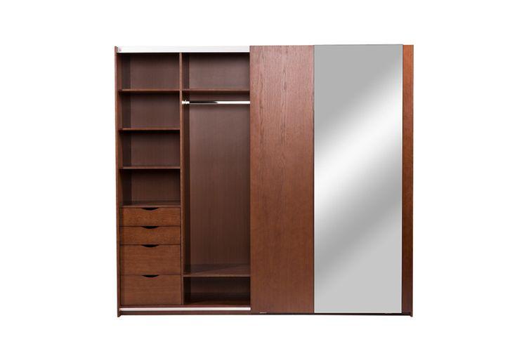 Шкаф-купе для одежды «Эвелин», темный орех