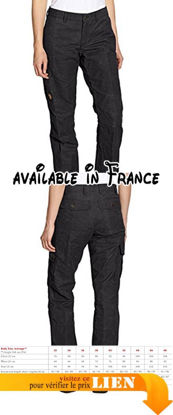 B0018CREVC : Fjällräven Women's Karla Pantalon gris fonce (Taille cadre: 38) pantalon. Pantalon en brossé G-1000. 7 poches et longueur modulable. Taille basse coupe régulière et les genoux préformées