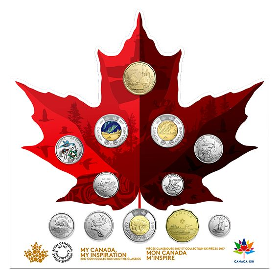 An excellent addition to a coin collection for Canada's 150th!. Includes coloured versions of the 2017 25¢ and GLOW-IN-THE-DARK $2 coins! While quantities last!