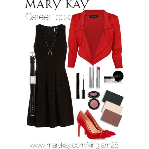 Mary Kay Career Look by kingram28 on Polyvore featuring Dorothy Perkins, Sole Society, Kate Spade, FOSSIL, Mary Kay, classic, Beauty, Marykay, fall2013 and redjacket