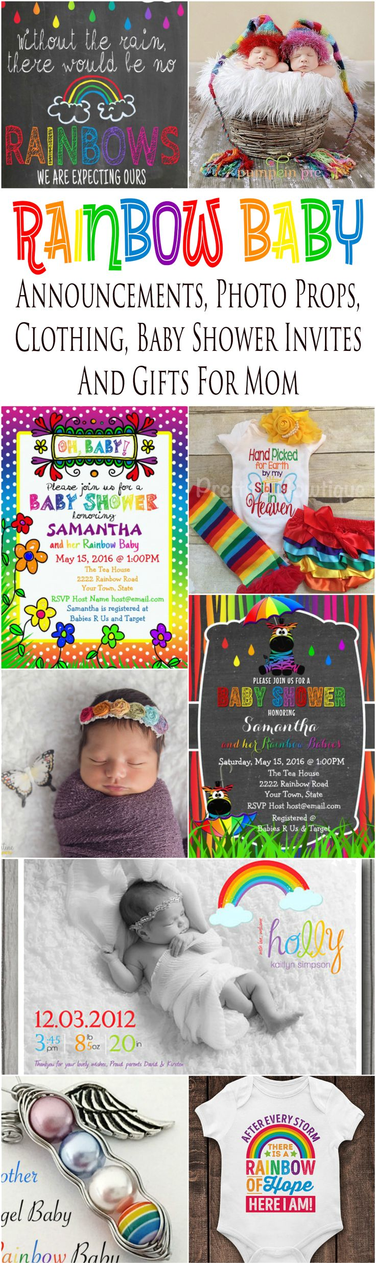 Celebrate your rainbow babies with rainbow baby announcement cards, pregnancy announcement signs, maternity and baby photo props, baby shower invitations, gift ideas for mom and infant clothing especially for celebrating a pregnancy after a loss.