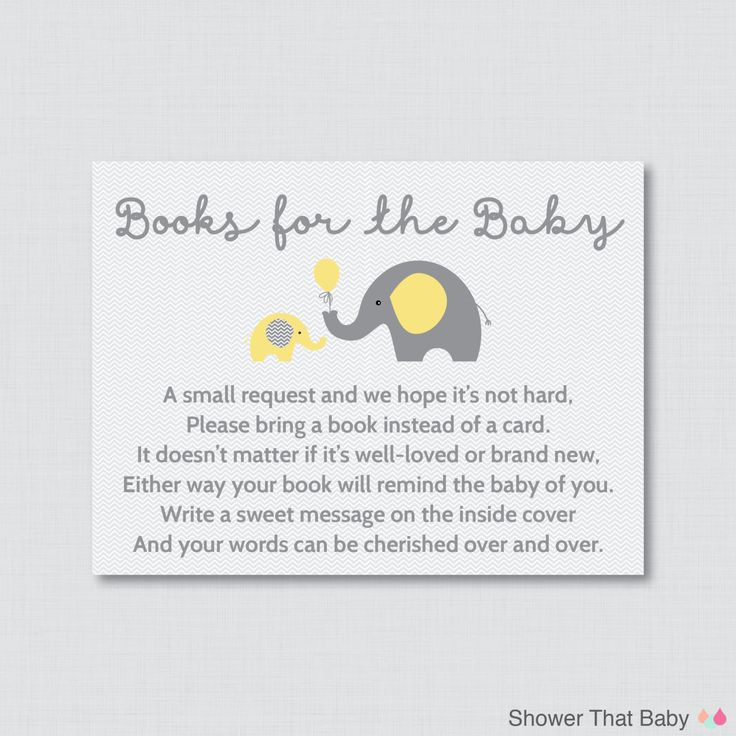 Elephant Baby Shower Bring A Book Instead Of A By