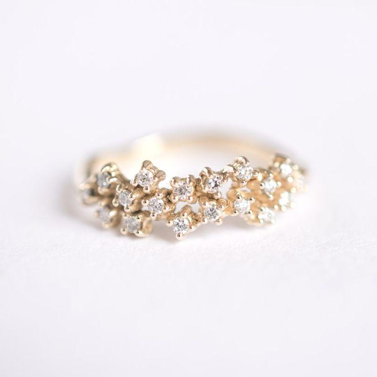 Long Diamond Cluster ring / 27JEWELRY
