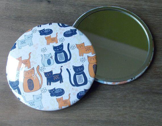 Pocket Mirror (geïllustreerd kat patroon) - Birthday gift - Cute Cat reizen mirror - kat compacte spiegel-cadeau voor vriendin-Mothers Day