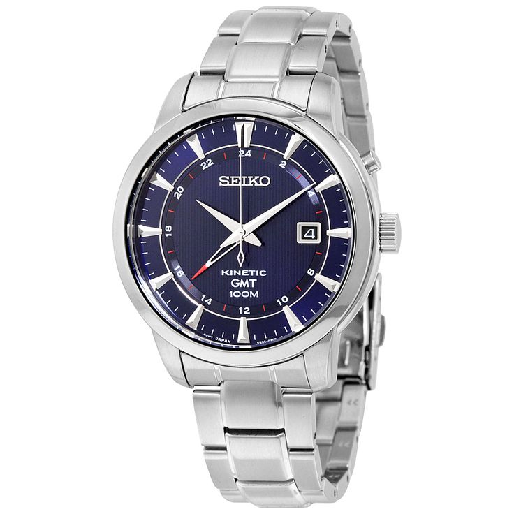 Seiko Kinetic GMT Blue Dial Stainless Steel Men's Watch SUN031 - Kinetic - Seiko - Shop Watches by Brand - Jomashop