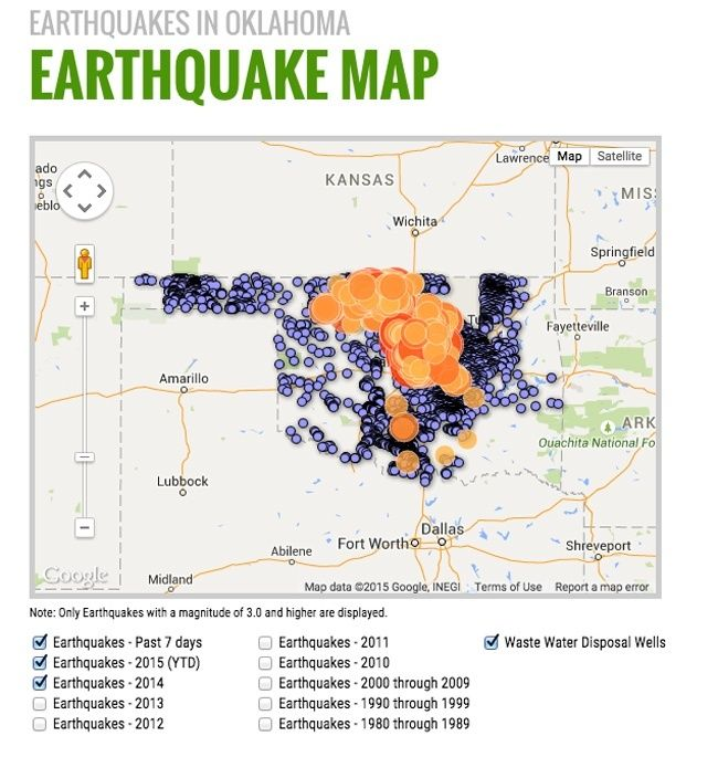 40 EARTHQUAKES HIT OKLAHOMA IN LAST 7 DAYS - 7/28/2015  The number of earthquakes has risen dramatically in recent years along with the rapid increase in fracking infrastructure in the state. Photo credit: