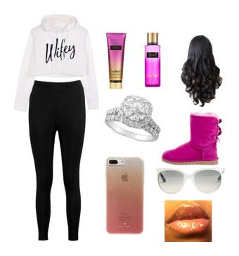 """""""Cold day outfit's"""" by briyannaelainhoy on Polyvore featuring Boohoo, UGG, Victoria's Secret, Ray-Ban and Kate Spade"""