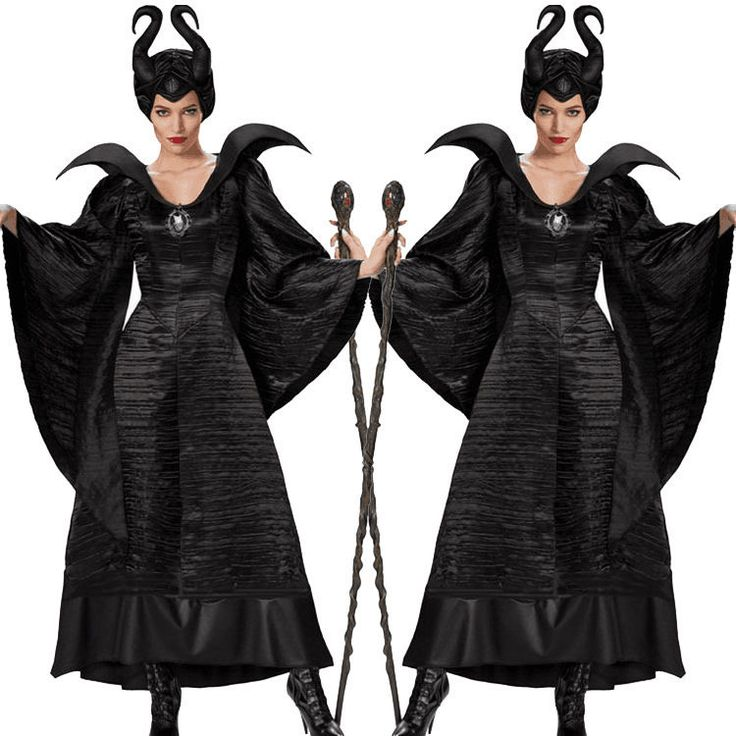 Black Maleficent Evil Queen Fancy Dress Halloween Cosplay Costume Adult Party | eBay