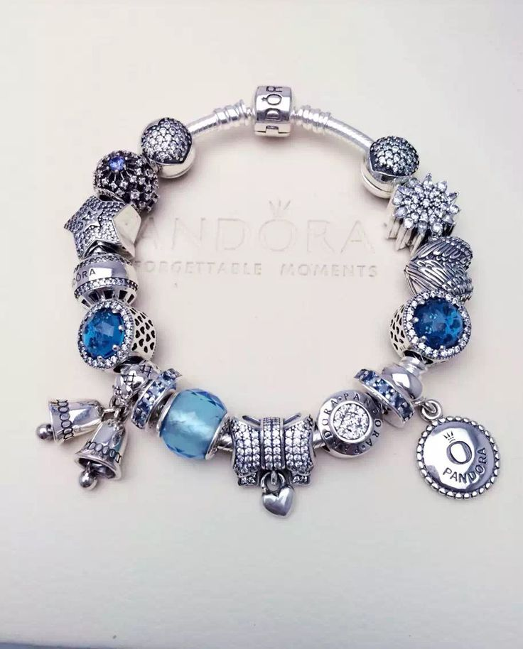 $379 Pandora Charm Bracelet Blue. Hot Sale!
