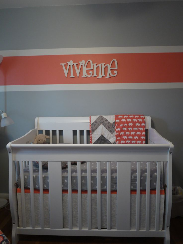 Vivienne S Coral And Gray Nursery Grey Walls Paint Ideas And Blankets