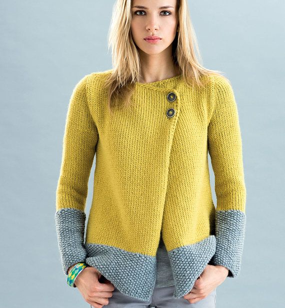 Yellow 100% Cashmere Jacket by woolsolution on Etsy