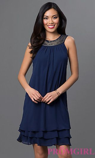 Knee Length Navy Blue Sleeveless Dress at PromGirl.com