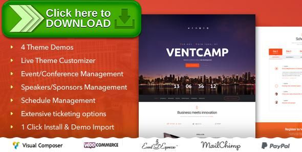 [ThemeForest]Free nulled download Ventcamp - Event and Conference Theme from http://zippyfile.download/f.php?id=34804 Tags: camp, conference, conference theme, event, event schedule, event website, event wordpress theme, exhibition, expo