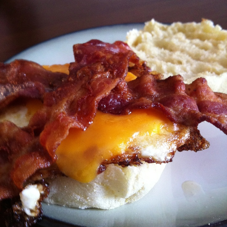 Homemade egg, cheese, and bacon English Muffin   Yummies!!