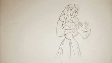 Sleeping Beauty Animation--Look at the way her hair moves, the way the lines in that skirt move, everything is perfect! HAND DRAWN!