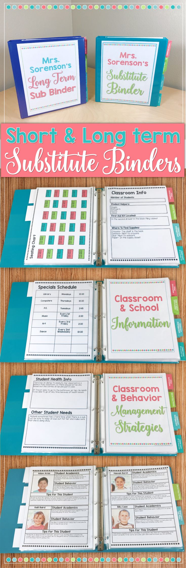 Absolutely EVERYTHING you could possibly need for short & long term absences are included in these editable substitute binders! From classroom management strategies, info forms, editable drag and drop seating charts, classroom tour- and MORE- this has you covered!