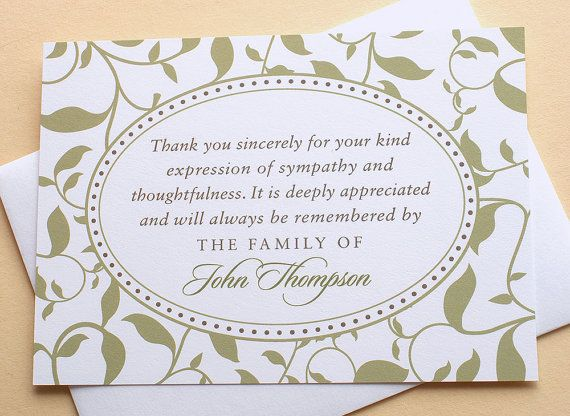 Sympathy Thank You Cards with Green Leaves  Custom by zdesigns0107