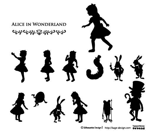 Alice in wonderland... and more!  All free, silhouette design.