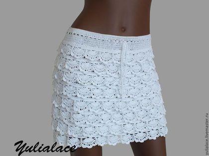 Вязаная юбка - белый,белая
