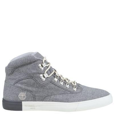 Timberland Men's Newport Bay Canvas Hiker Chukka Shoes (Dark Grey Canvas)