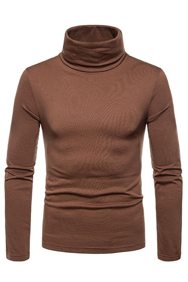 c10faf9b80 Plain High Collar Long Sleeve Slim Mens Casual T-shirt T-shirt fashion mens  fashion