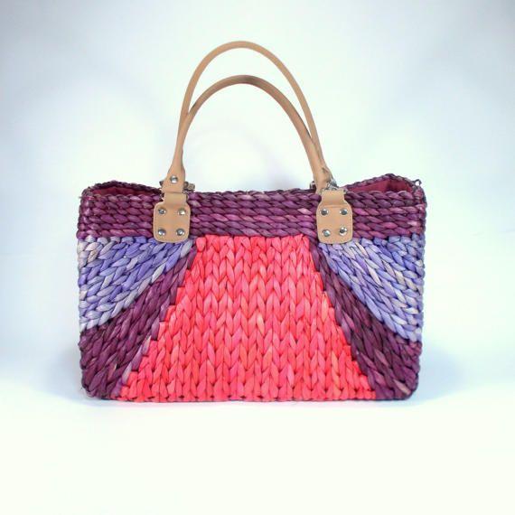 Basket straw bag colorful vintage straw bag woven bag by etsyYNB