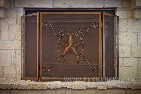 Texas Lone Star Fireplace Screen <3