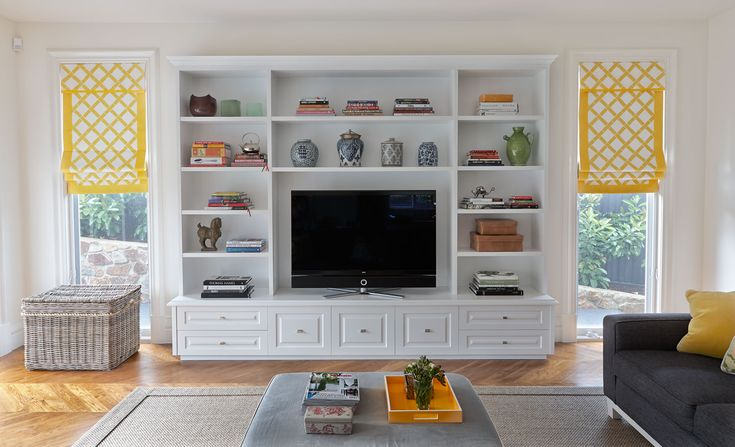 Living room | love the yellow print window coverings | Diane Bergeron