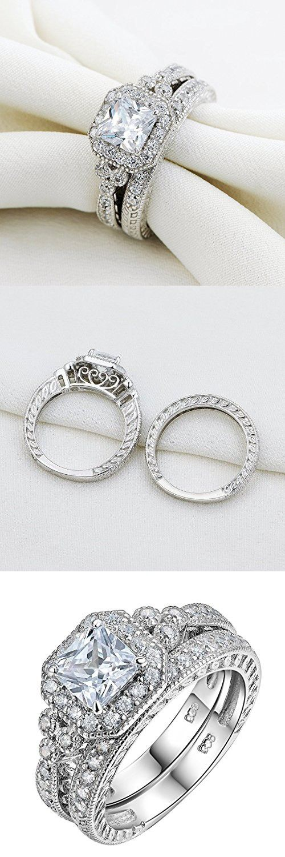 Newshe Vintage Bridal Set Princess White Cz 925 Sterling Silver Wedding Engagement Ring Set Size 6