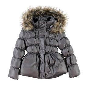 Name It Mikka Girls Real Down Coat - Nine Iron (Grey). Only £35.99 inc Free Delivery
