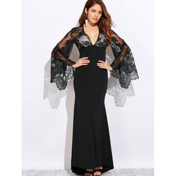 Wholesale Plunging Neck Cutout Lace Spliced Maxi Prom Dress In Black | TrendsGal.com