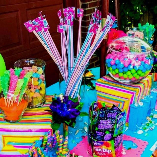 Luau Candy Table... OMG!! This is gonna be the funnest to shop for!!! I get to buy candy without worrying what color it is!!!! SO MANY DIFFERENT types of candies they'll be.