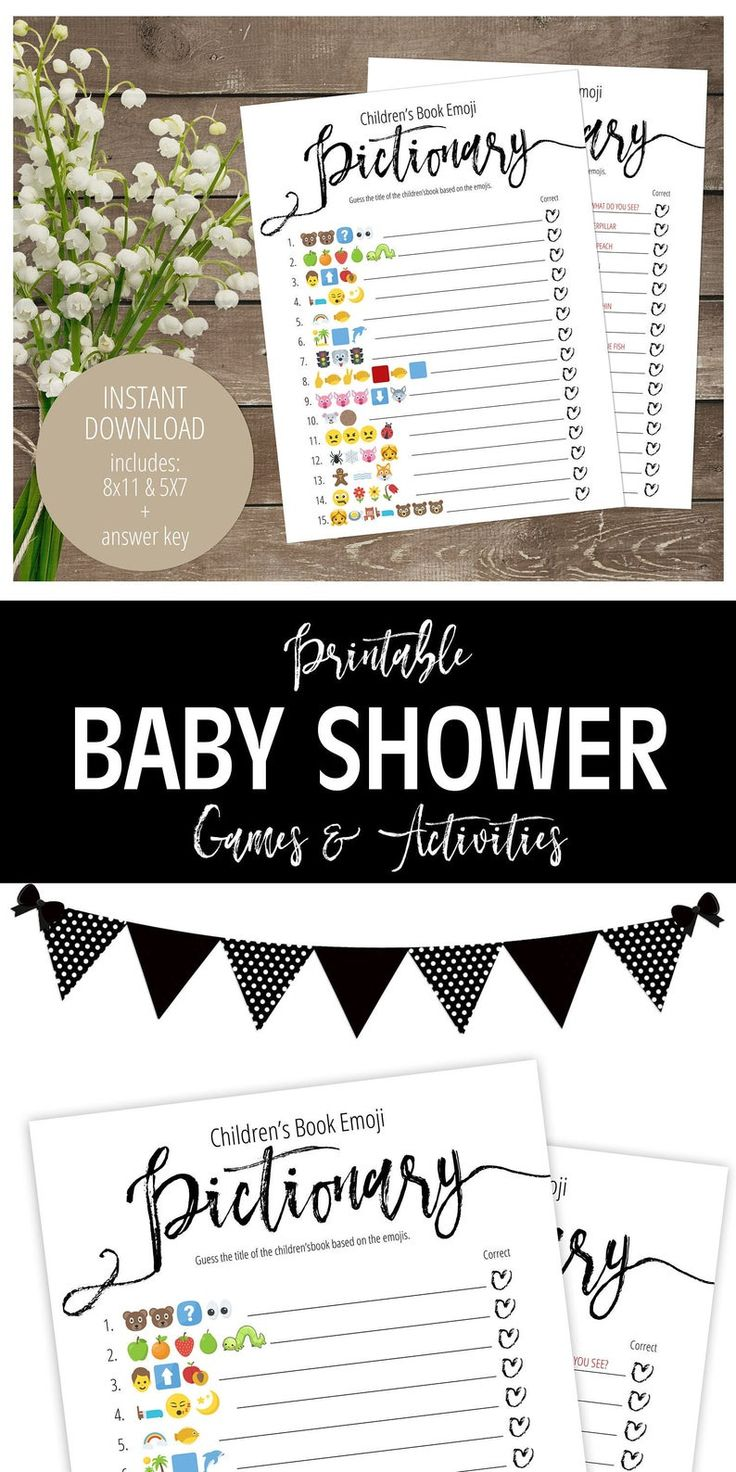Classic Black and White Pictionary Game, Printable Baby