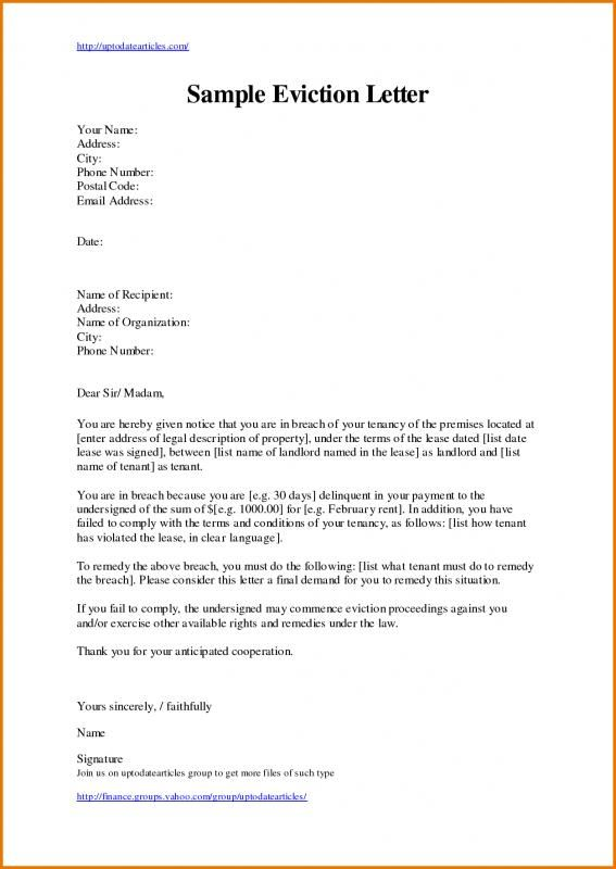 Eviction Letter Template  template  Letter templates Templates Lettering