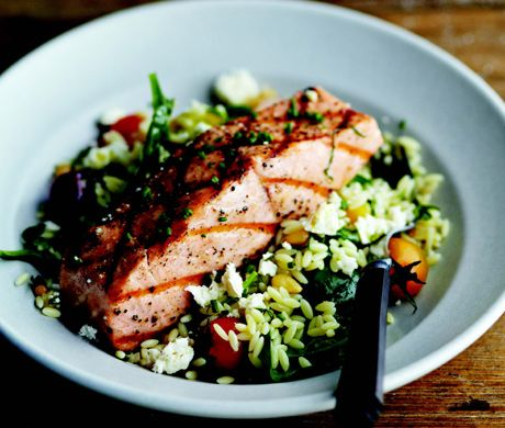 Grilled Salmon with Orzo, Feta, and Red Wine Vinaigrette (I would do this with parmesan instead of feta)
