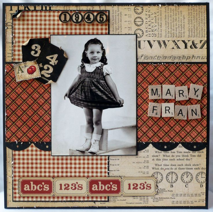 ABC 123 Vintage scrapbook layout with black and white photo