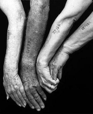 This is maybe one of the most powerful pictures I have ever seen. The numbers on the arms are from prisoners of Nazi concentration camps. The numbers replaced their names while at the camps and they were tattooed on so that they could be easily tracked by the Germans. This is why we study history. So this never happens again.
