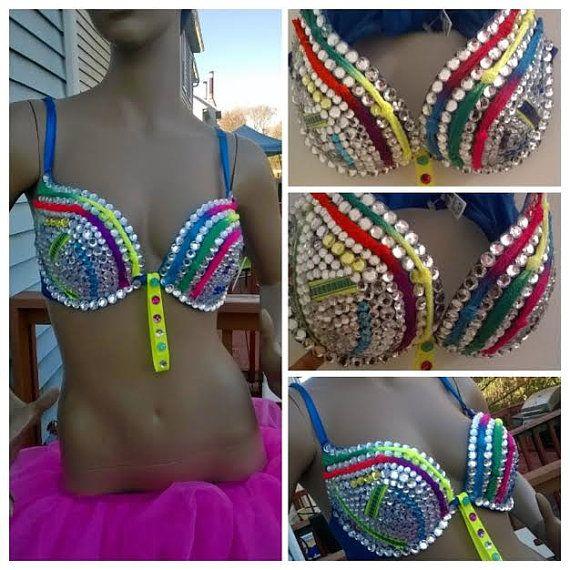 Neon Rhinestone bra revised for 2015 any size by Smokinghotdivas