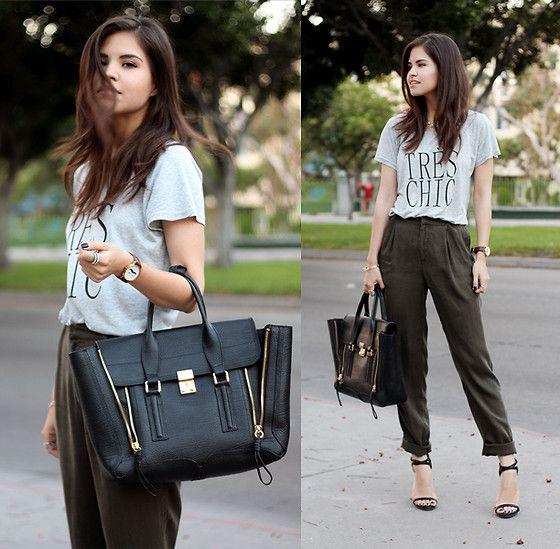 2dayslook Très Chic T Shirt, Forever 21 Pleated Loose Fit Pants, 3.1 Phillip Lim Pashli Satchel, Zara Double Ankle Strap Sandal