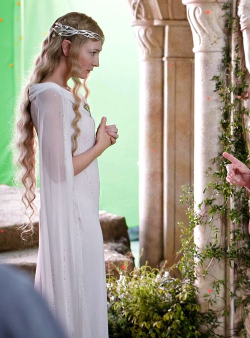Cate Blanchett as Galadriel on the set of The Hobbit: An Unexpected Journey (2012).