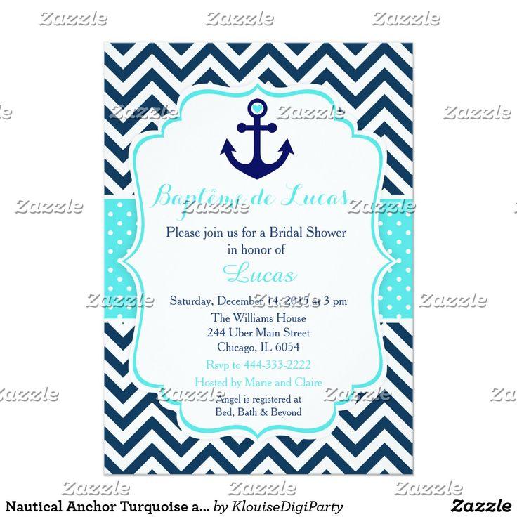 Douche nuptiale nautique de turquoise et de marine carton d'invitation  12,7 cm x 17,78 cm