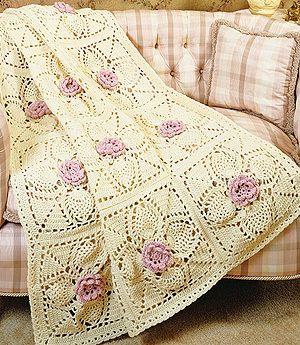 Roses crochet afghan pattern| pineapple afghan crochet patterns-LeisureArts