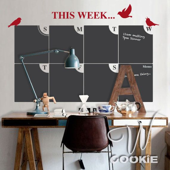 Chalkboard Weekly Planner/ Calendar Vinyl Decal with Free Chalk Ink